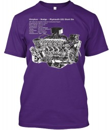 225 Slant Six Cutaway Purple Hanes Tagless Tee $21.99
