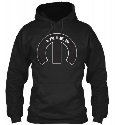 Aries Mopar M Black Gildan 8oz Heavy Blend Hoodie $38.99