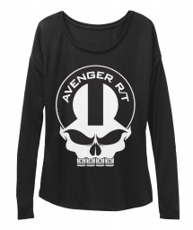 Avenger R/T Mopar Skull Black BELLA+CANVAS Women's  Flowy Long Sleeve Tee $43.99
