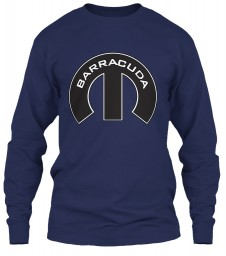 Barracuda Mopar M Navy Gildan 6.1oz Long Sleeve Tee $25.99
