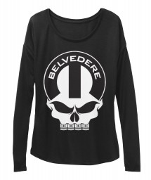 Belvedere Mopar Skull BELLA+CANVAS Women's  Flowy Long Sleeve Tee