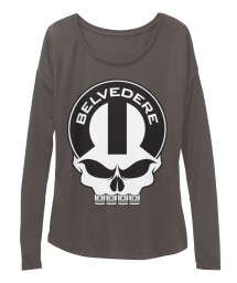 Belvedere Mopar Skull Dark Grey Heather BELLA+CANVAS Women's  Flowy Long Sleeve Tee $43.99