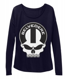 Belvedere Mopar Skull Midnight BELLA+CANVAS Women's  Flowy Long Sleeve Tee $43.99