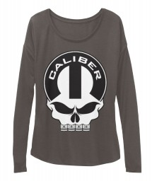 Caliber Mopar Skull Dark Grey Heather BELLA+CANVAS Women's  Flowy Long Sleeve Tee $43.99