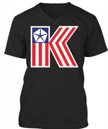 Chrysler K Car Flag Black BELLA+CANVAS Unisex Premium Jersey V-Neck $23.99