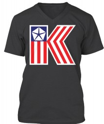 Chrysler K Car Flag Dark Grey Heather BELLA+CANVAS Unisex Premium Jersey V-Neck $23.99
