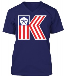 Chrysler K Car Flag Navy BELLA+CANVAS Unisex Premium Jersey V-Neck $23.99
