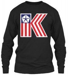 Chrysler K Car Flag Black Gildan 6.1oz Long Sleeve Tee $25.99