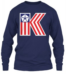 Chrysler K Car Flag Navy Gildan 6.1oz Long Sleeve Tee $25.99