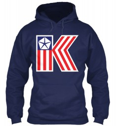 Chrysler K Car Flag Navy Gildan 8oz Heavy Blend Hoodie $38.99