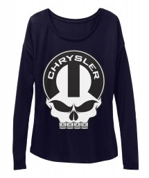 Chrysler Mopar Skull BELLA+CANVAS Women's  Flowy Long Sleeve Tee