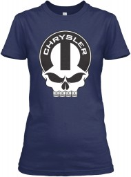 Chrysler Mopar Skull Navy Gildan Women's Relaxed Tee $21.99