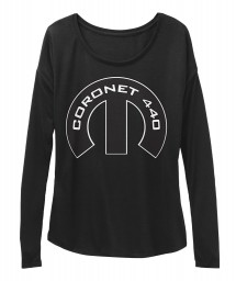 Coronet 440 Mopar M Black BELLA+CANVAS Women's  Flowy Long Sleeve Tee $43.99