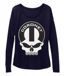 Coronet Mopar Skull Midnight BELLA+CANVAS Women's  Flowy Long Sleeve Tee $43.99