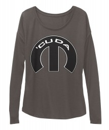 Cuda Mopar M Dark Grey Heather  Women's  Flowy Long Sleeve Tee $43.99