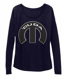 Cuda Mopar M Midnight BELLA+CANVAS Women's  Flowy Long Sleeve Tee $43.99