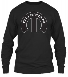 Custom Mopar M Black Gildan 6.1oz Long Sleeve Tee $25.99