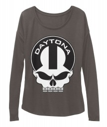 Daytona Mopar Skull Dark Grey Heather  Women's  Flowy Long Sleeve Tee $43.99