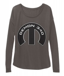 Demon 340 Mopar M Dark Grey Heather  Women's  Flowy Long Sleeve Tee $43.99