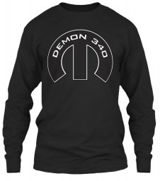 Demon 340 Mopar M Black Gildan 6.1oz Long Sleeve Tee $25.99