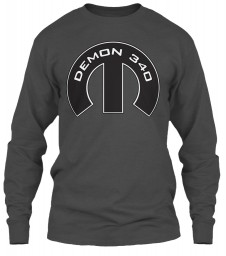 Demon 340 Mopar M Charcoal Gildan 6.1oz Long Sleeve Tee $25.99