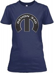 Demon 340 Mopar M Navy Gildan Women's Relaxed Tee $21.99