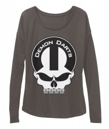 Demon Darts Mopar Skull Dark Grey Heather  Women's  Flowy Long Sleeve Tee $43.99