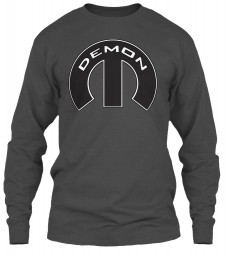 Demon Mopar M Charcoal Gildan 6.1oz Long Sleeve Tee $25.99
