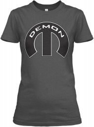 Demon Mopar M Charcoal Gildan Women's Relaxed Tee $21.99
