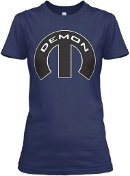 Demon Mopar M Navy Gildan Women's Relaxed Tee $21.99