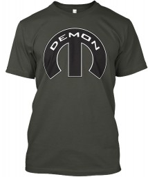 Demon Mopar M Smoke Gray Hanes Tagless Tee $21.99
