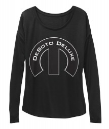 DeSoto Deluxe Mopar M Black BELLA+CANVAS Women's  Flowy Long Sleeve Tee $43.99