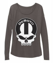 DeSoto Mopar Skull Dark Grey Heather  Women's  Flowy Long Sleeve Tee $43.99