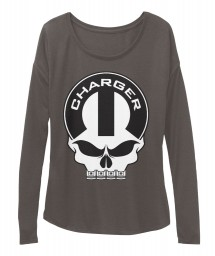Dodge Charger Mopar Skull Dark Grey Heather  Women's  Flowy Long Sleeve Tee $43.99