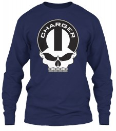 Dodge Charger Mopar Skull Navy Gildan 6.1oz Long Sleeve Tee $25.99