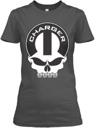 Dodge Charger Mopar Skull Charcoal Gildan Women's Relaxed Tee $21.99