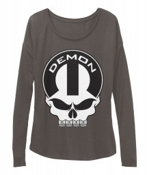 Dodge Demon Mopar Skull BELLA+CANVAS Women's  Flowy Long Sleeve Tee