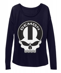 Dodge Demon Mopar Skull Midnight  Women's  Flowy Long Sleeve Tee $43.99