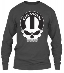 Dodge Demon Mopar Skull Charcoal Gildan 6.1oz Long Sleeve Tee $25.99