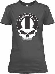 Dodge Demon Mopar Skull Charcoal Gildan Women's Relaxed Tee $21.99