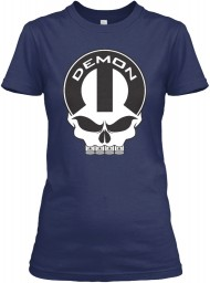 Dodge Demon Mopar Skull Navy Gildan Women's Relaxed Tee $21.99