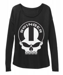 Dodge Swinger Mopar Skull Black BELLA+CANVAS Women's  Flowy Long Sleeve Tee $43.99