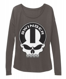 Dodge Swinger Mopar Skull Dark Grey Heather BELLA+CANVAS Women's  Flowy Long Sleeve Tee $43.99