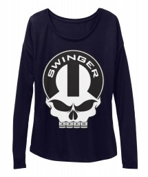 Dodge Swinger Mopar Skull Midnight BELLA+CANVAS Women's  Flowy Long Sleeve Tee $43.99