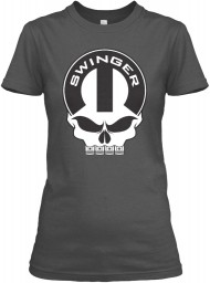 Dodge Swinger Mopar Skull Charcoal Gildan Women's Relaxed Tee $21.99