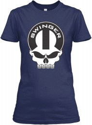 Dodge Swinger Mopar Skull Navy Gildan Women's Relaxed Tee $21.99