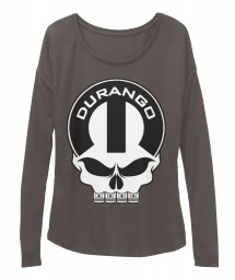 Durango Mopar Skull Dark Grey Heather  Women's  Flowy Long Sleeve Tee $43.99