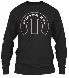 Duster 340 Mopar M Black Gildan 6.1oz Long Sleeve Tee $25.99