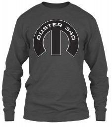 Duster 340 Mopar M Charcoal Gildan 6.1oz Long Sleeve Tee $25.99