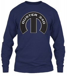 Duster 340 Mopar M Navy Gildan 6.1oz Long Sleeve Tee $25.99